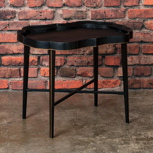 Black 19th Century Folk Art Swedish Small Black Painted Tray Table For Sale - Image 8 of 9