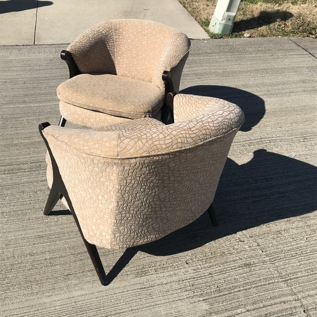 2000 - 2009 Mid Century Modern Karpen Bros Style Club Chairs - a Pair For Sale - Image 5 of 8
