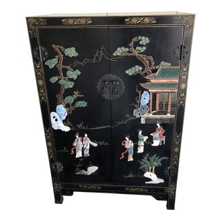 20th Century Chinoiserie Armoire Cabinet Decorated Inlaid Hardstone For Sale