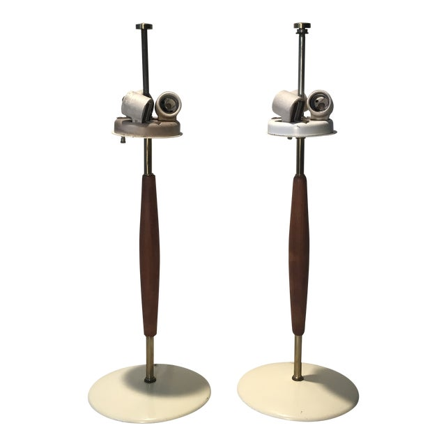 1950s Gerald Thurston for Lightolier Brass and Walnut Lamps - a Pair For Sale