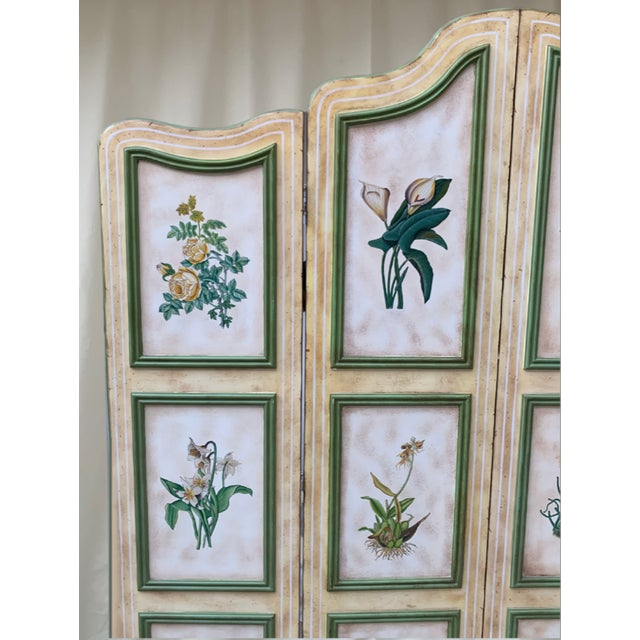 Early 20th Century Vintage Early 20th Century French Hand-Painted Floral Botanical Wood Screen For Sale - Image 5 of 12