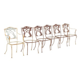 20th Century French Art Nouveau Vine Back Iron Outdoor Garden Dining Chairs - Set of 6 For Sale