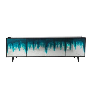 Art Mirror 4-Door Credenza in Night Blue Ombre by Sylvan s.f. For Sale