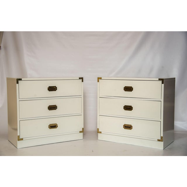 White Lacquered Campaign Chests - Pair - Image 5 of 5