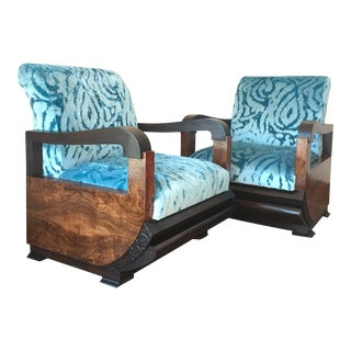 Espectacular Blue Velvet Art Deco Armchair - Pair For Sale