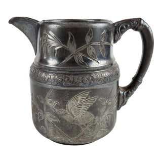 Antique Aesthetic Movement Silverplate Creamer With Bird For Sale