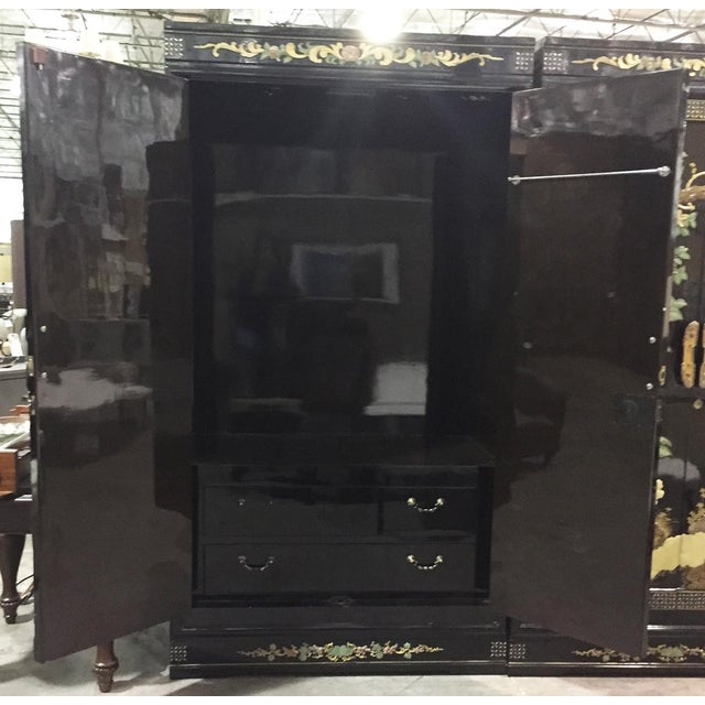 Vintage Chinoiserie Black Lacquer Mother of Pearl Inlay Wardrobe Armoire - Pair Available For Sale - Image 4 of 11