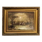 Image of Moody Antique Oil Landscape With House, Moon in Gilded Gold Frame For Sale
