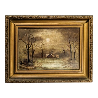 Moody Antique Oil Landscape With House, Moon in Gilded Gold Frame