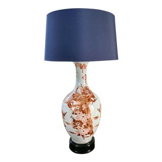 1950s Chinoiserie Monumental Kutani Decorated Lamp For Sale