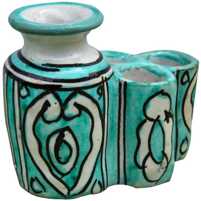 Moroccan Moroccan Ceramic Inkwell & Candle Holder For Sale - Image 3 of 9