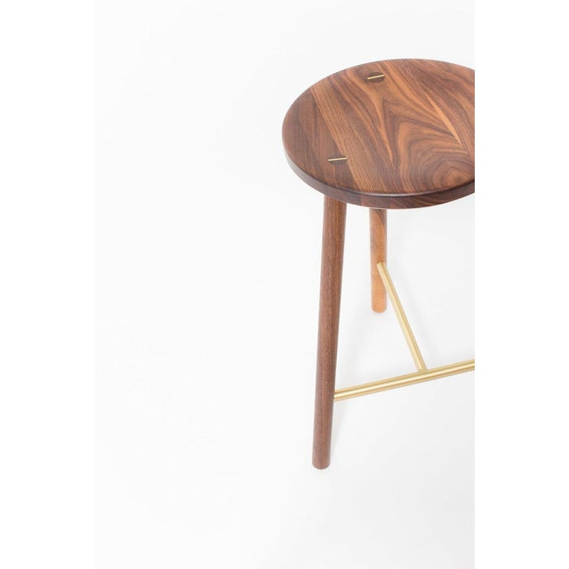 Contemporary Steven Bukowski Contemporary Scout Stool in Walnut and Brass For Sale - Image 3 of 5