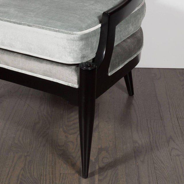 Pair of Mid-Century Modern Spoon Back Occasional Chairs in Ebonized Walnut For Sale In New York - Image 6 of 8