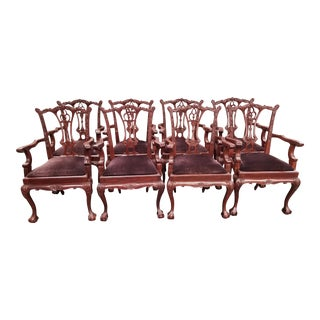 Chippendale Ruby Red Wood Arm Dining Chairs - Set of 8