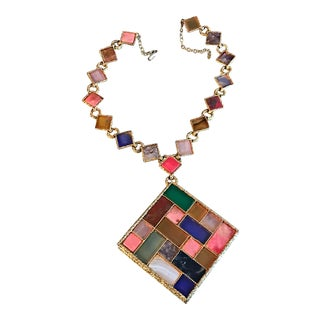 Swoboda Necklace Large Geometric Agate Jade Sapphire Ruby Carnelian Statement 1960s For Sale