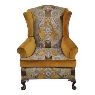 Paisley Velvet Wingback Chair For Sale