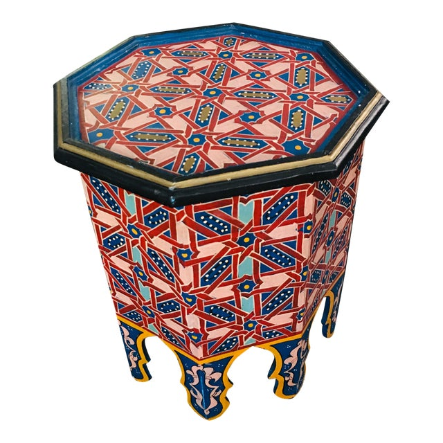Moroccan Hexagonal Hand Painted Wooden Side Table For Sale