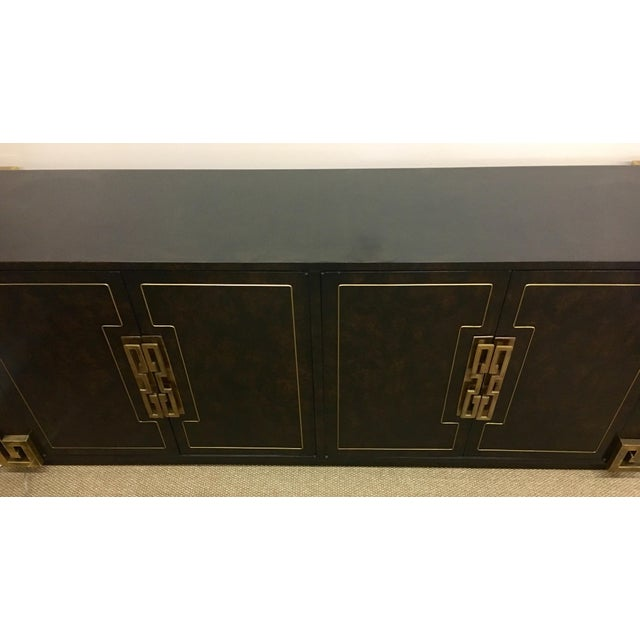 Mastercraft Bernhard Rohne Mastercraft Burled Carpathian Elm and Brass Buffet Server Bar For Sale - Image 4 of 10