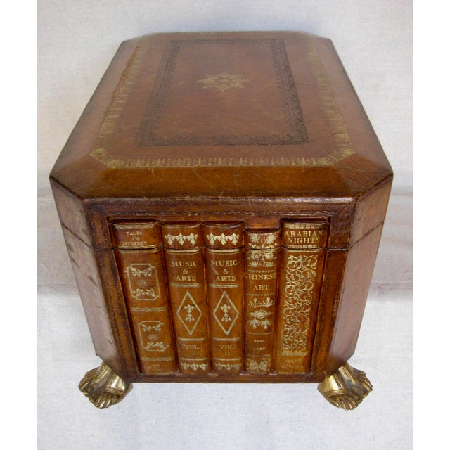 Vintage English Book Leather Box For Sale - Image 6 of 11