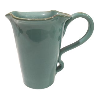 Vintage Italian Teal Pottery Pitcher For Sale