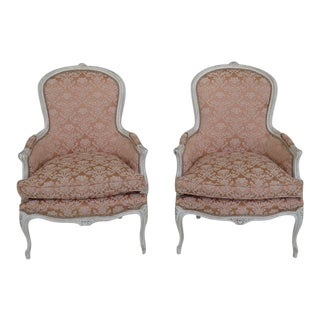 French Louis XV Style Newly Upholstered Bergere Chairs - a Pair For Sale