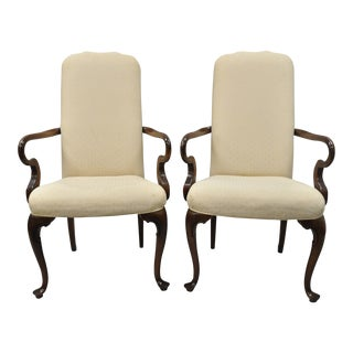 Drexel Heritage Queen Anne Style Armchairs - A Pair For Sale