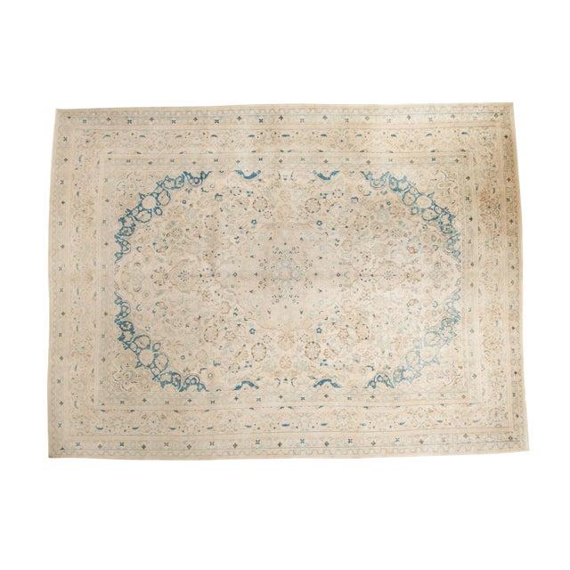 "Vintage Distressed Meshed Carpet - 9'9"" x 12'10"" For Sale"