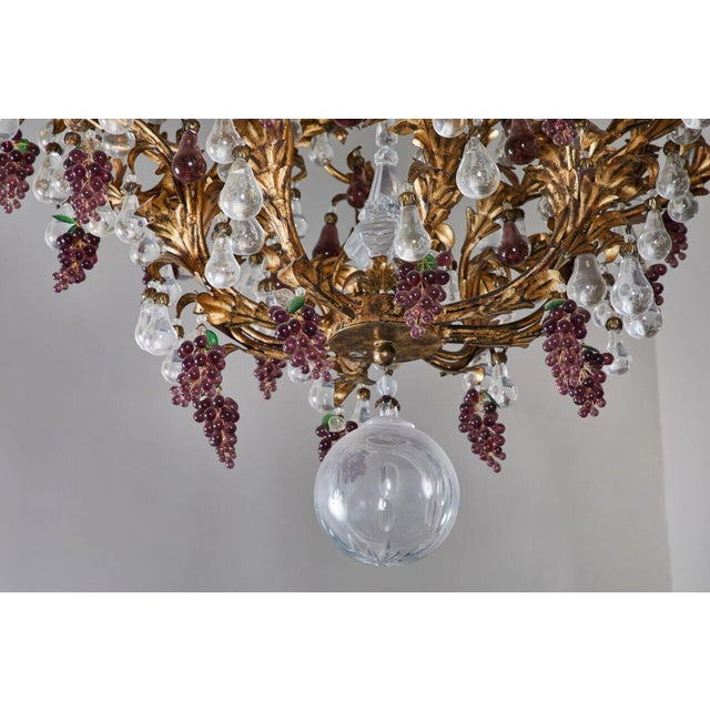 Red An Elaborate French 1930s Vinegrapes & Drops Chandelier For Sale - Image 8 of 9