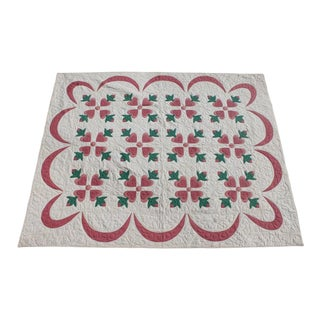 1920s Vintage Appliqué Hearts Quilt For Sale
