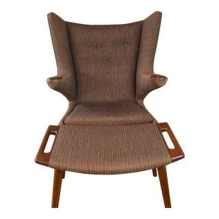 Hans Wegner for a.p. Stolen Original Papa Bear Chair & Ottoman For Sale