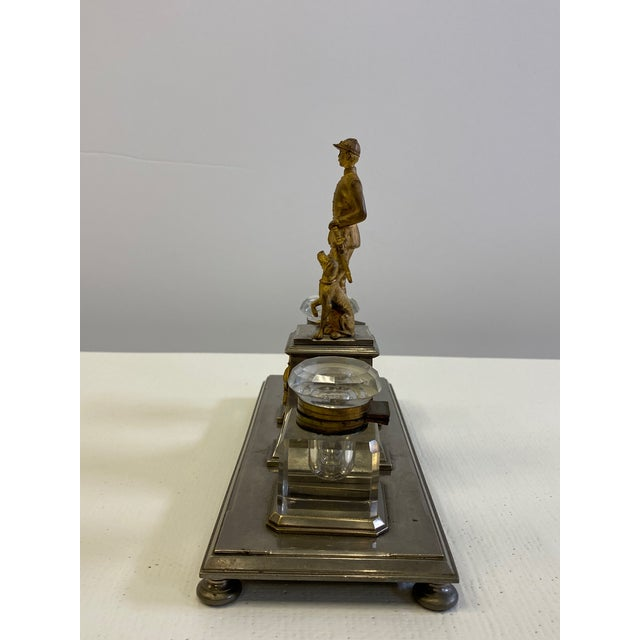 1900 - 1909 Gilt Bronze Brass and Cut Glass Horseman & Hound Dog Desk Inkwell Set For Sale - Image 5 of 10