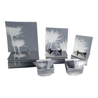 CB2 Modern Dinnerware Featuring Mums - 40 Piece Set For Sale