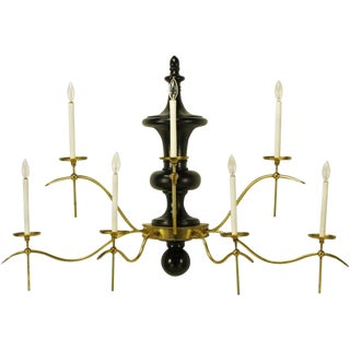 Large Regency Brass & Black Lacquered Wood Seven-Arm Sconce For Sale