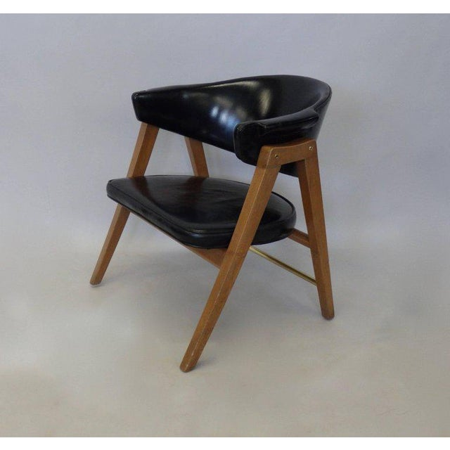 Dunbar Furniture Edward Wormley for Dunbar Lounge Chair With Black Leather For Sale - Image 4 of 6