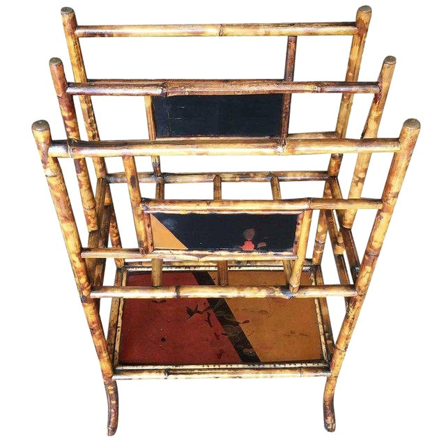 Restored Aesthetic Movement Large Two-Tier Tiger Bamboo Magazine Rack W/ Divider For Sale