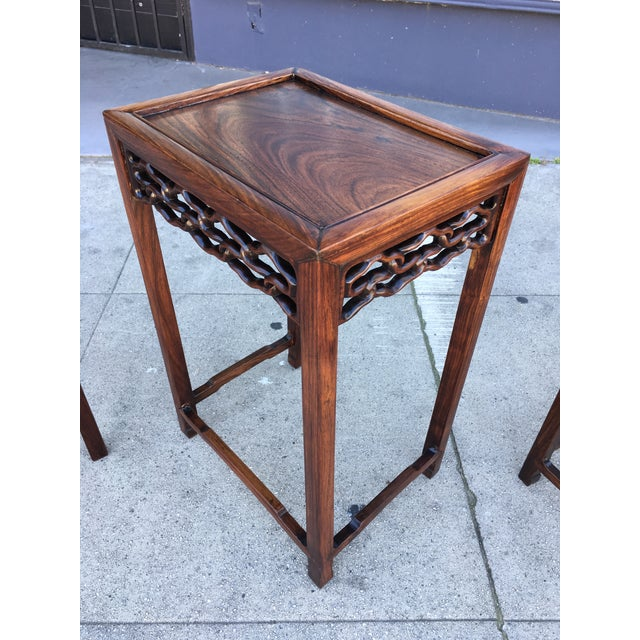 20th Century Chinese Rosewood Nesting Tables - Set of 4 For Sale In Los Angeles - Image 6 of 12