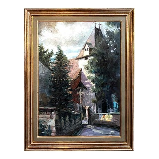 Framed Oil Painting by Huben For Sale