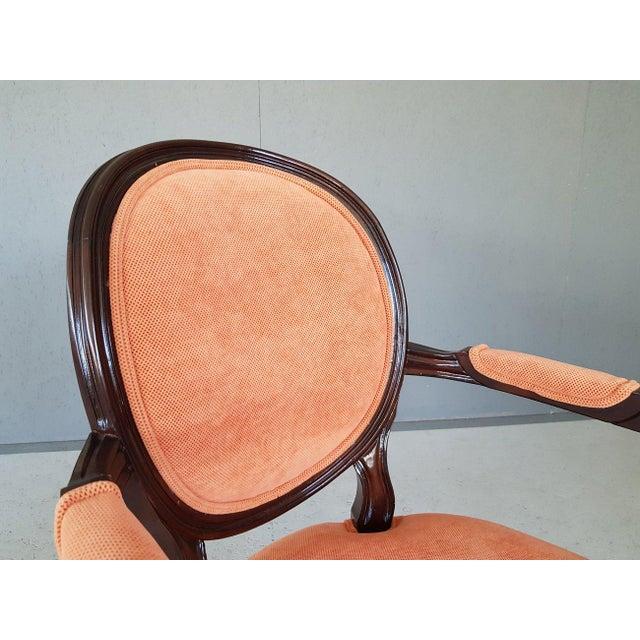 Louis XVI Velvet Upholstery Arm Chair For Sale - Image 9 of 13