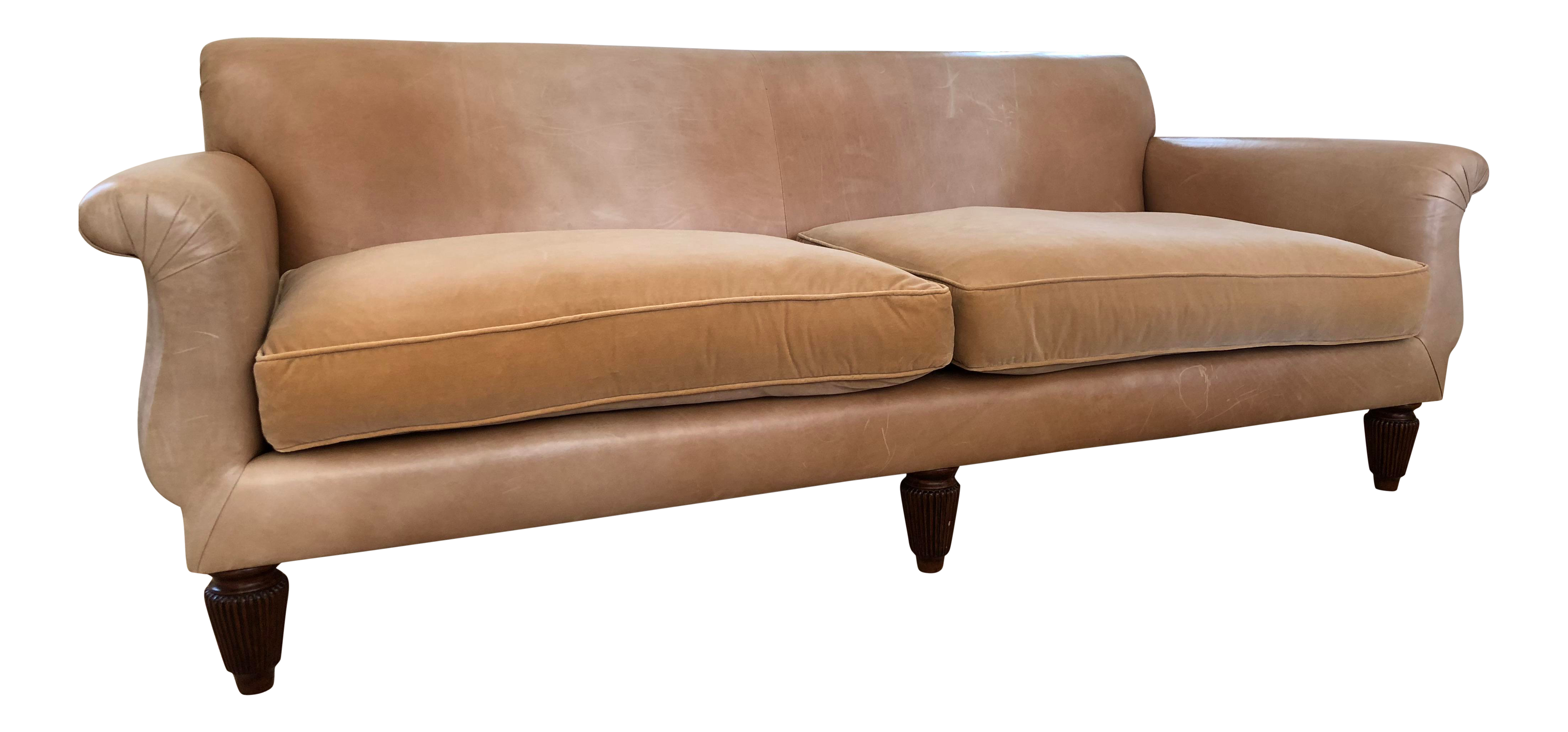 Martyn Lawrence Bullard Leather Sofas With Cotton Velvet Seat Cushions   A  Pair.