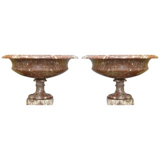 Pair of 19th Century Turned Rossa Verona Marble Tazzas For Sale