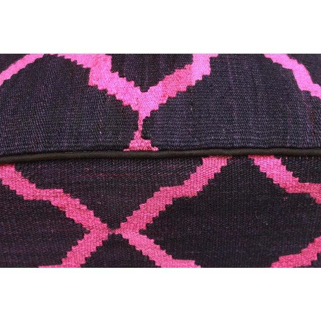 Arshs Deirdre Blue/Pink Kilim Upholstered Handmade Ottoman For Sale In New York - Image 6 of 8
