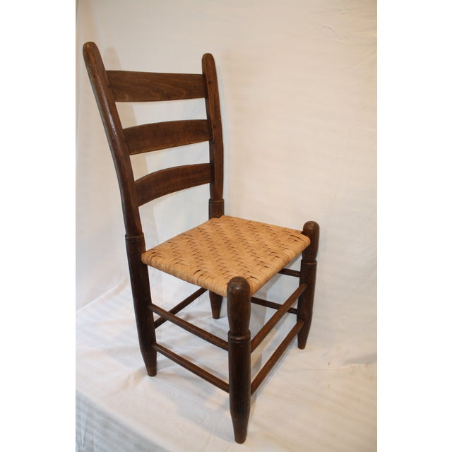 Rustic Ladder Back Chair With Split Oak Seat - Image 6 of 7