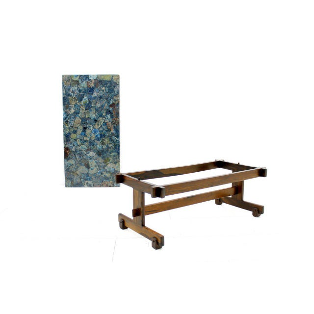 Brown Rare Sergio Rodrigues Coffee Table With Apatit Stone Mosaic Top, Brazil 1964 For Sale - Image 8 of 10