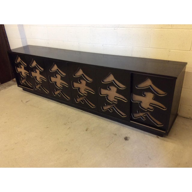 Unusual Black Lacquer Asian Style Media Credenza Console For Sale - Image 11 of 11