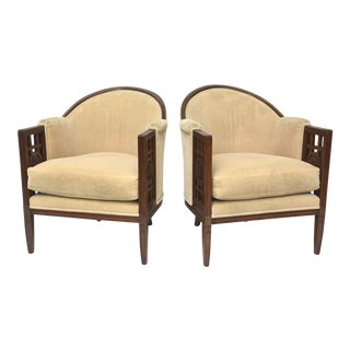 Fine Pair of French Art Deco Mahogany Chairs, Paul Follot For Sale