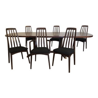 Niels Moller for Gudme Mobelfabrik Rosewood Dining Table With 2 Leaves, Svegards Markaryd Rosewood Dining Chairs, Set of 6 For Sale