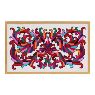 Vibrant Framed Embroidery Panel