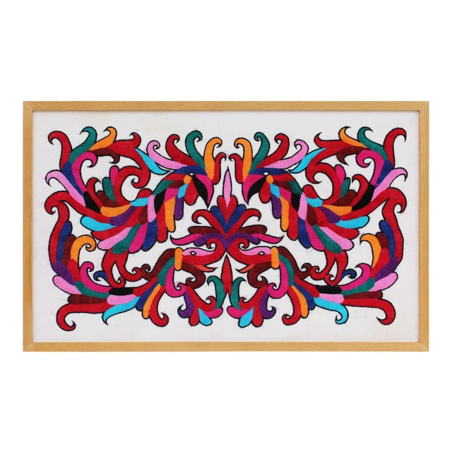 Vibrant Framed Embroidery Panel For Sale