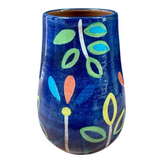 Hand Painted Terra Cotta Blue Vase With Colorful Modern Flowers For Sale