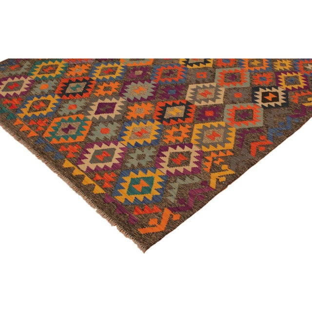 2010s Mary Gray/Blue Hand-Woven Kilim Wool Rug -5'10 X 8'4 For Sale - Image 5 of 8